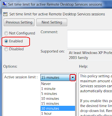 Set the Time Limit for Active Remote Desktop Session
