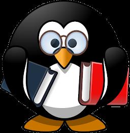 Pingüino con gafas y un libro en cada mano