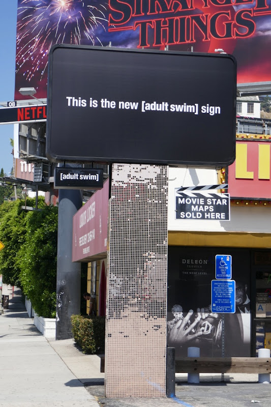 This is the new adult swim sign billboard Sunset Strip