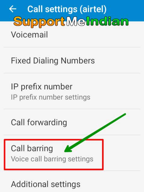 Call barring option