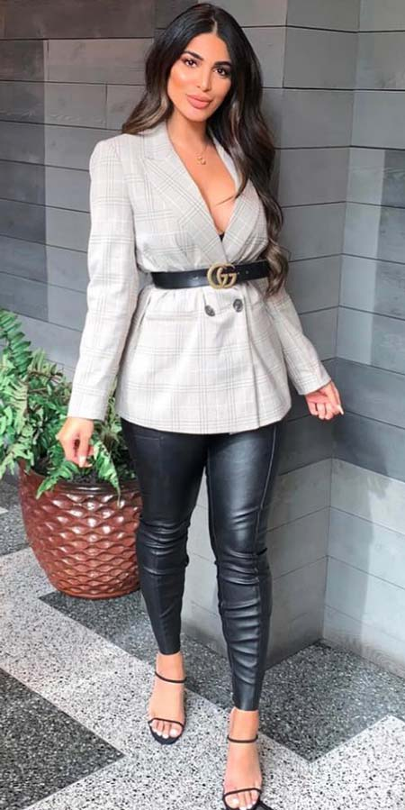 Double breasted checked blazer, imitation leather leggings | grey blazer | Casual blazer outfits are arguably the best work outfits. Find the best work blazer with these 25 womens blazer outfit ideas. Best blazer styles and blazer fashion via higiggle.com #blazer #workoutfits #fashion #style