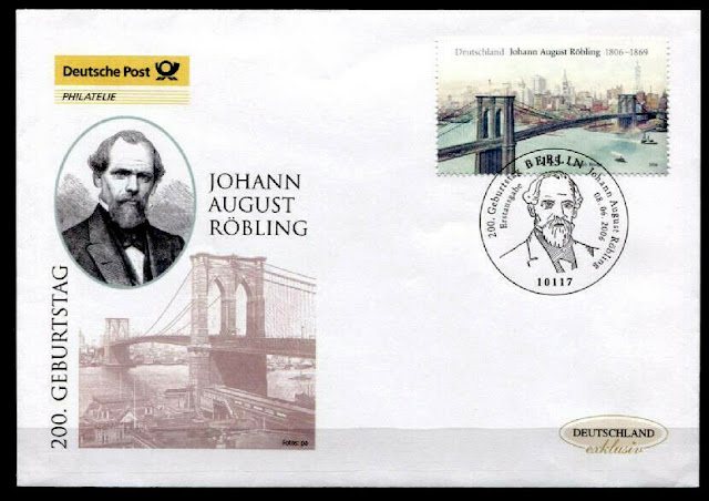 John A. Roebling, German-American engineer, designed the Brooklyn Bridge Germany 2006 FDC
