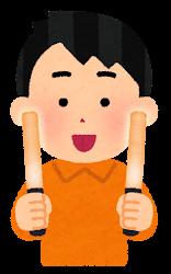 オレンジのペンライトを持つ人のイラスト(男性)