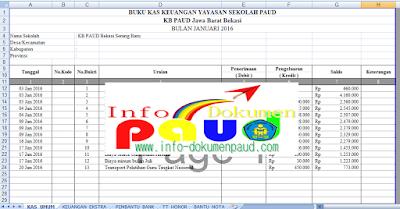 Contoh Buku KAS Keuangan Yayasan Sekolah Faud Format Excel