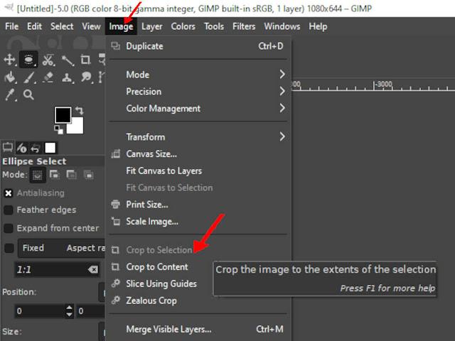 GIMP: Crop to selection