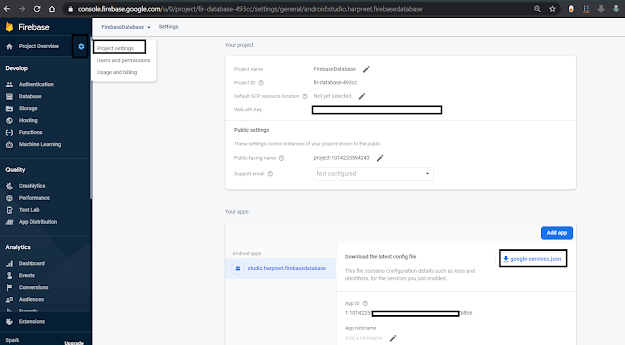 Download googleservices.json file from firebase realtime database