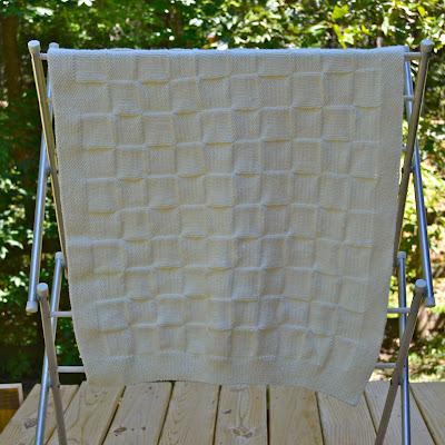 simple hand knit baby blanket pattern, checkerboard blanket pattern, free knitting pattern