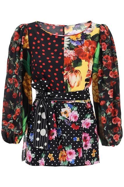 Shop Now: D & G DOLCE & GABBANA PATCHWORK SILK BLOUSE 40 Black, Red, Yellow Silk (RMNOnline.net)