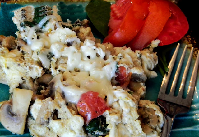 Mediterranean Veggie Egg White Scramble on plate with fork