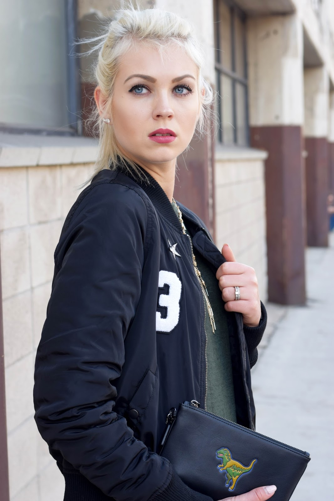 bomber jacket, midi dress