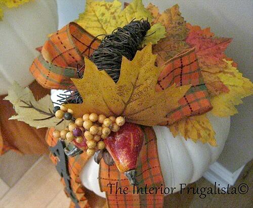 Faux Stacked Pumpkins Fall Cornucopia Berries Pick