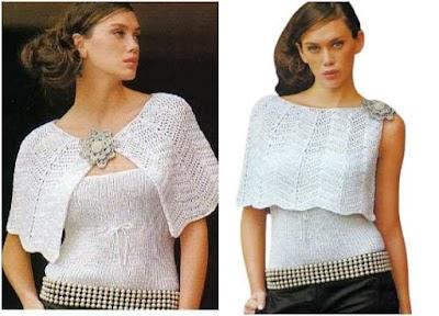 Capa y Top Conjunto Crochet-Tricot