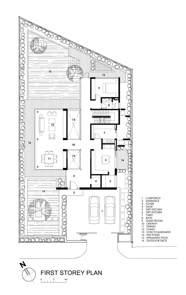 Ground floor plan of Travertine Dream House by Wallflower Architecture + Design