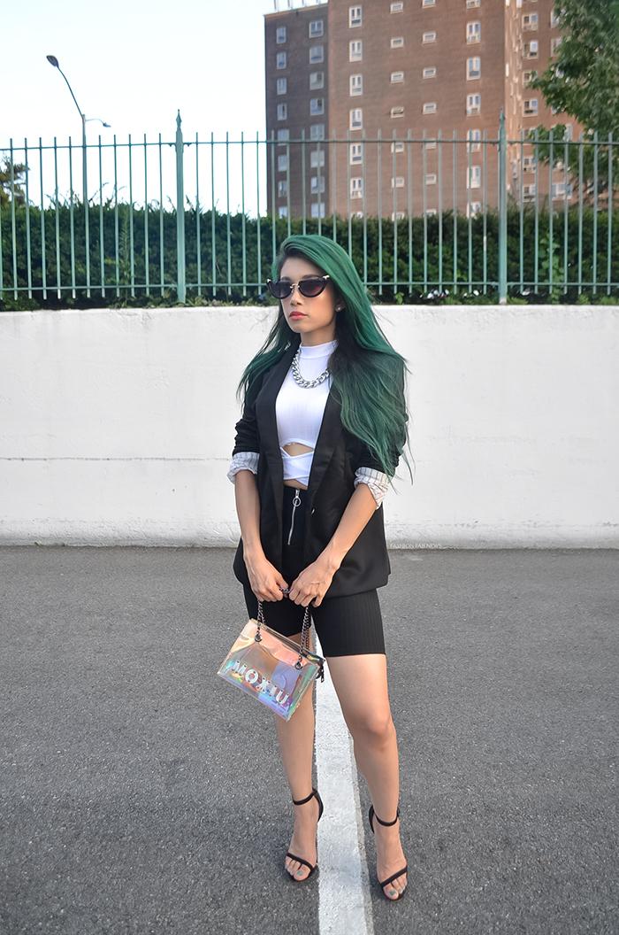 Biker Shorts Green hair lina mayorga black cycle shorts white sleeveless top black blazer