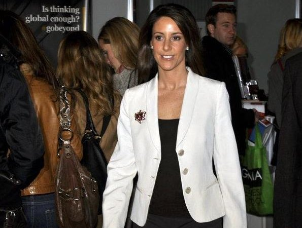 Princess Marie arrived at the fair with the Rector of the University of Southern Denmark. wore blazer and black trousers, diamond earrings