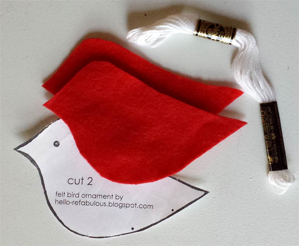 Fio de feltro e bordado para ornamento de pássaro vermelho personalizado simples, tutorial livre e padrão no blog refabulous