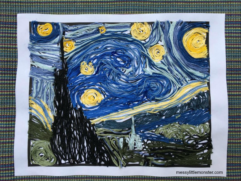 Vincent Van Gogh The Starry Night yarn craft for kids