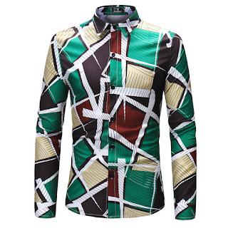 Men's Geometric Print Long Sleeve Shirt