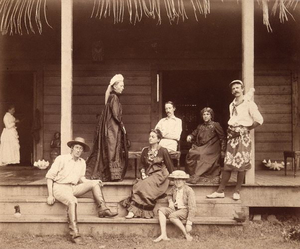 Robert Louis Stevenson, his wife and their household in Vailima, Samoa, c. 1892