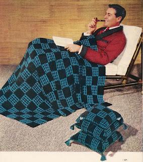 Blue Black crochet block afghan pattern