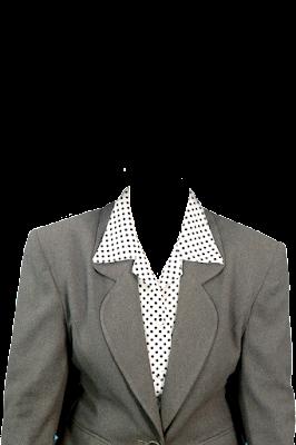 Contoh template baju jas wanita abu-abu png