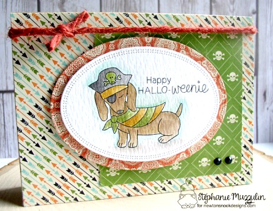 Dachshund Pirate Halloween card by Stephanie Muzzulin | Dress Up Doxies stamp set by Newton's Nook Designs #newtonsnook