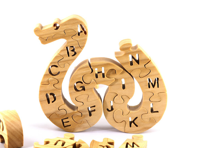 Handmade Wooden Alphabet Snake Puzzle Toy