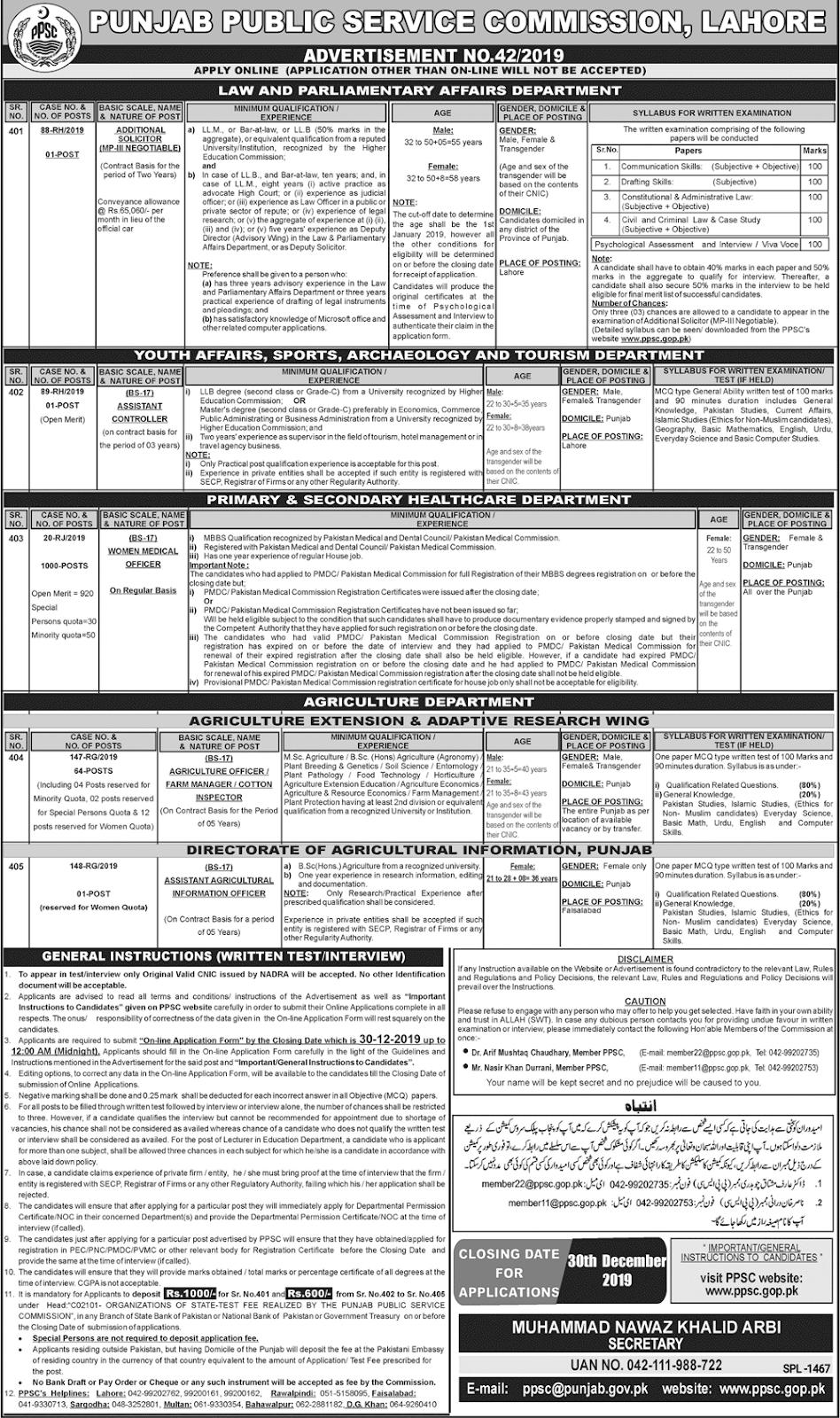 Jobs PPSC Latest Advertisement  Punjab Public Service Commission 2019