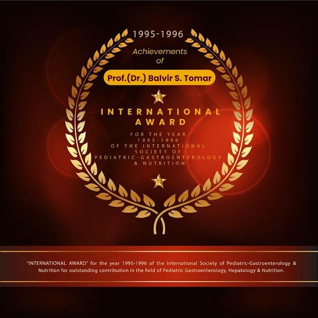 Achievements of Dr BS Tomar - INTERNATIONAL AWARD