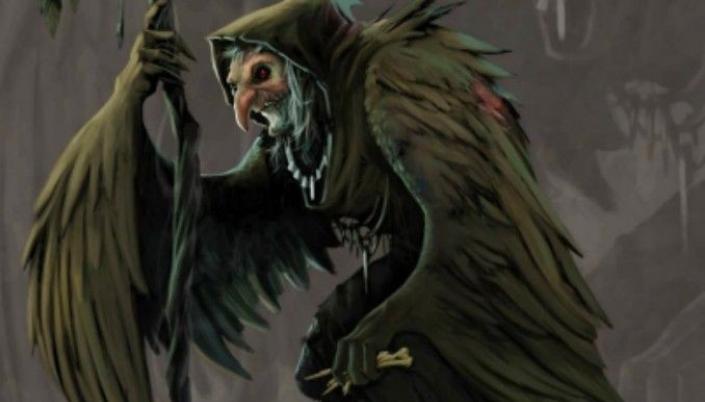 Imagem: ilustração que traz a Matinta como uma velha com feições de pássaro, o longo nariz e o queixo formando um bico, longos braços cobertos de penas como asas, um capuz e segurando um cajado de madeira.