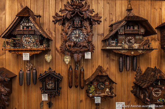 Hand carved Cuckoo Clocks from the Black Forest in Germany