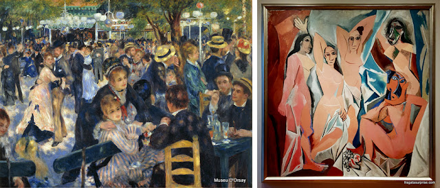 """Arte em Montmartre: """"O Baile do Moulin de La Galette"""", de Renoir, e """"As Senhoritas de Avingon"""", de Pablo Picasso"""