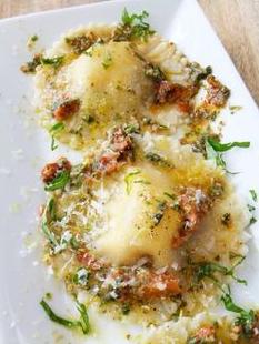 Caprese Ravioli with Roasted Tomato Pesto Sauce