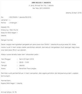 Contoh surat resmi untuk kepala sekolah