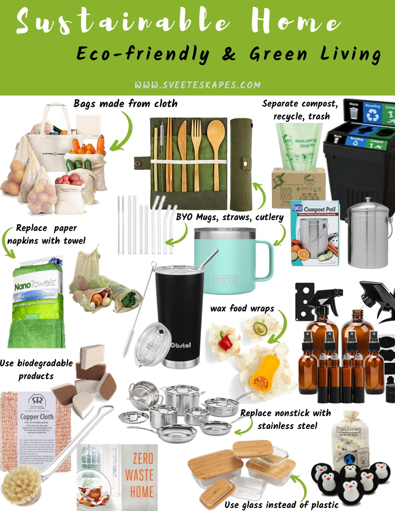 How to live a more eco friendly lifestyle featured by top US lifestyle blog, Sveeteskapes: favorite eco friendly products