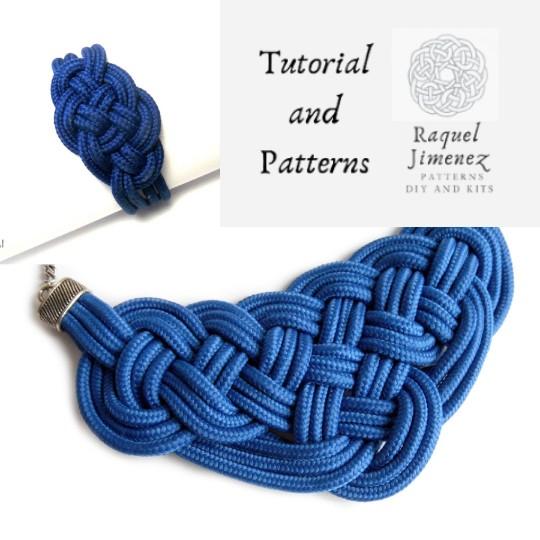 patrones e instrucciones para hacer collar y pulsera de nudos