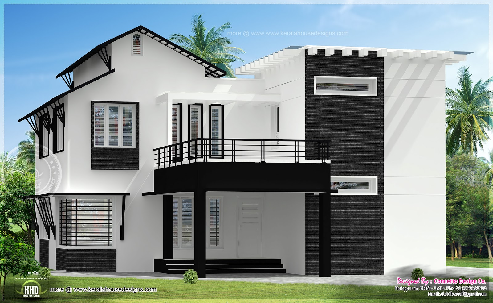 5 different house exteriors by concetto design kerala for Kerala style home designs and elevations