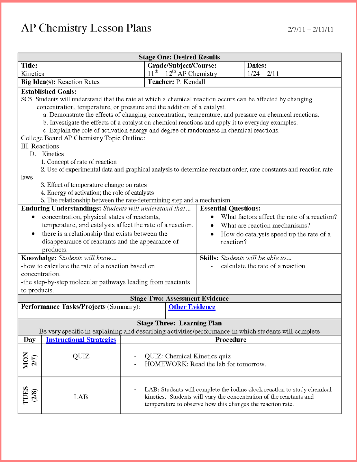 Backward Design Lesson Plan Template 2 Resume Business