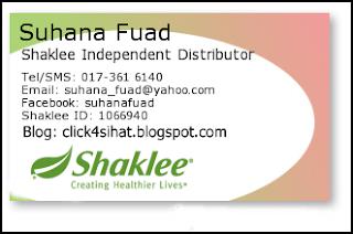 Sue adalah Pengedar Sah Shaklee bagi Puchong serta seluruh Malaysia