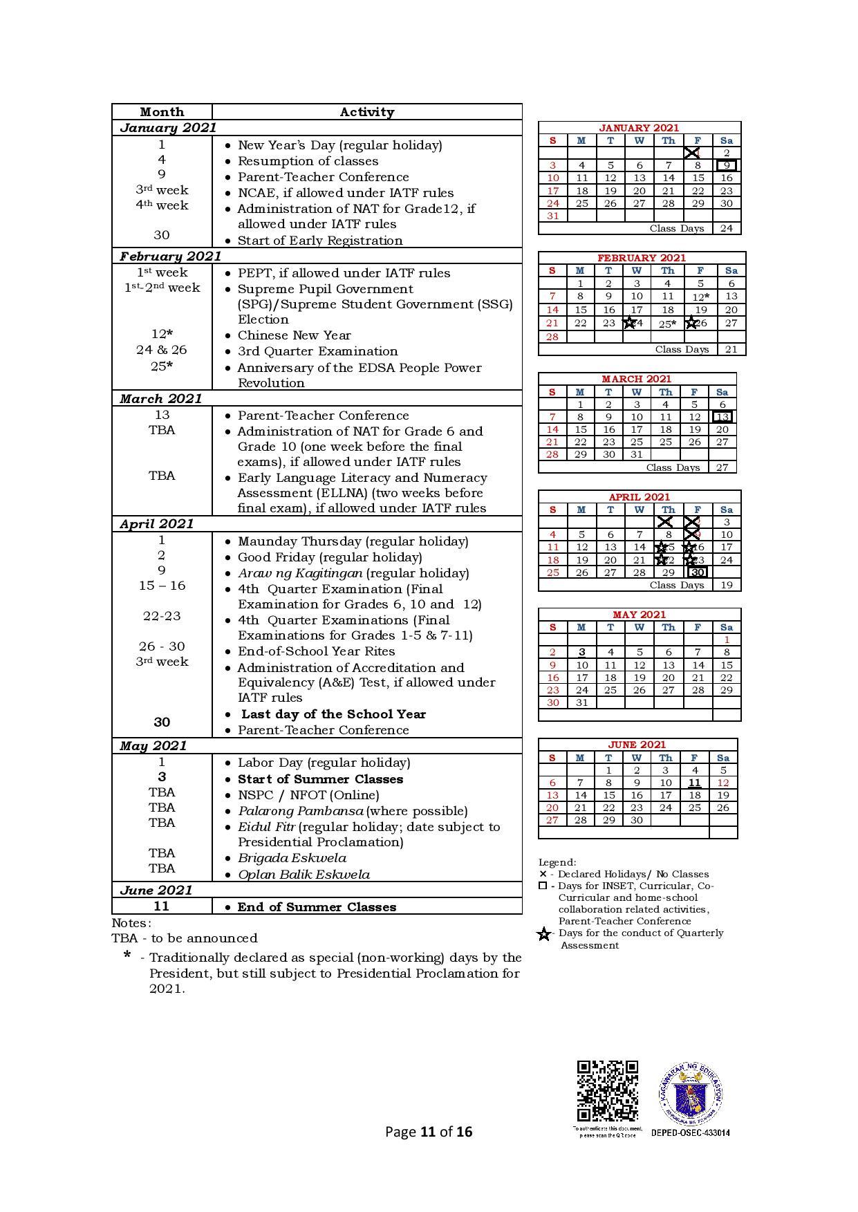 School Calendar 2