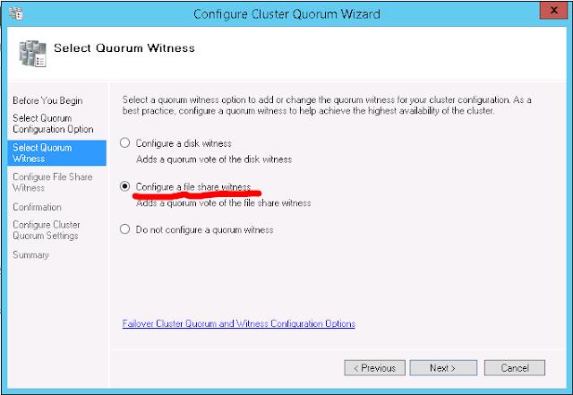 Quorum Configuration - Select Quorum Witness