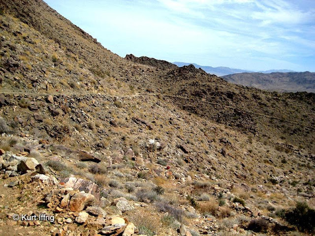 This is the old wagon road, found near Contact Mine. Over the years it has narrowed and eroded.