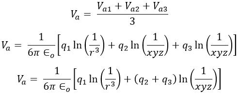 Capacitance of Three Phase Transmission Line