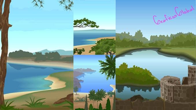 Cuatro vectores paisaje con laguna AI
