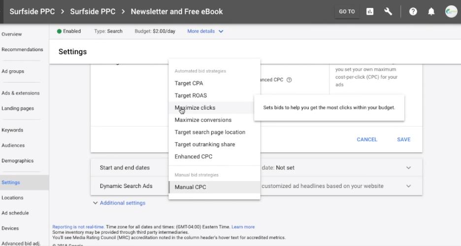 Maximize clicks Google Adwords