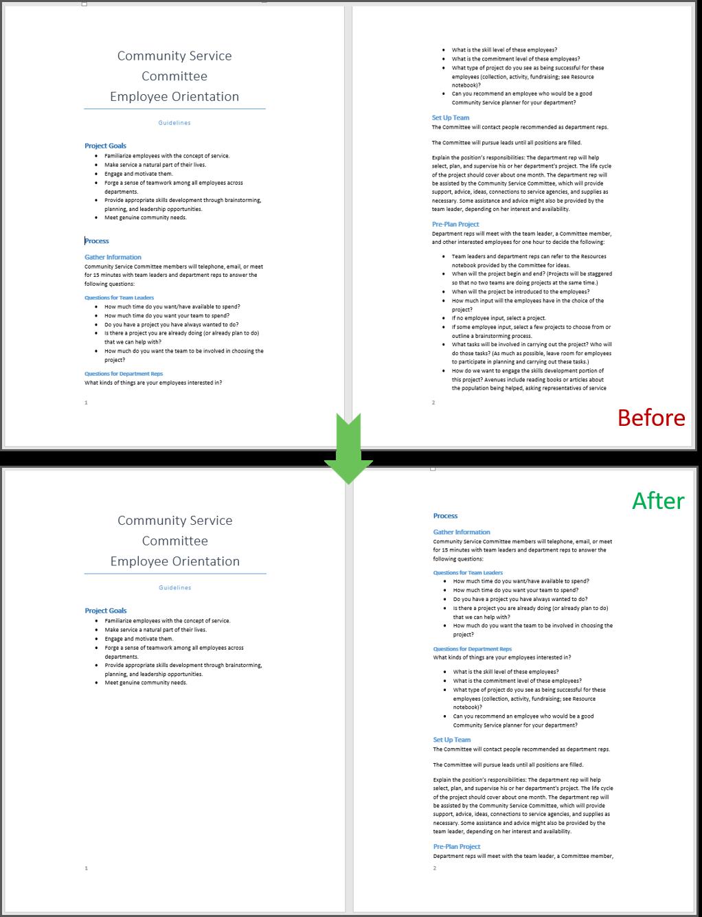 Tampilan sebelum dan sesudah insert page break