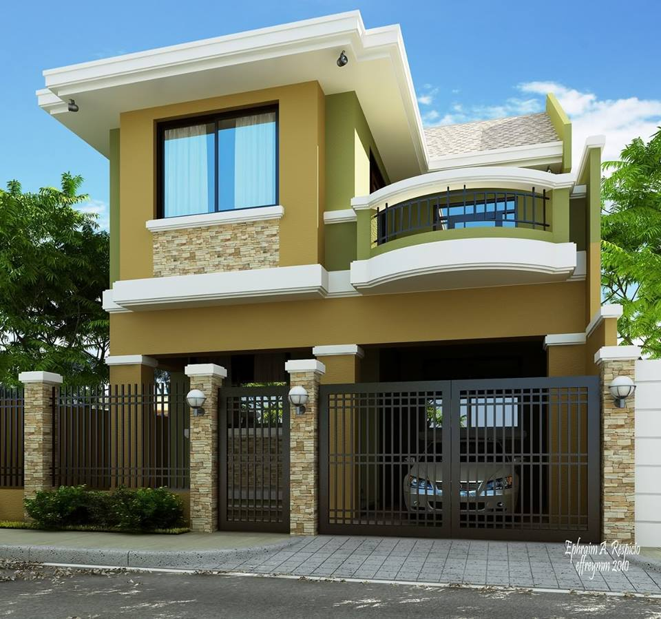 2 storey modern house designs in the philippines bahay ofw for Small modern house plans two floors