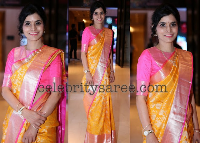 Mustard Yellow Baby Pink Silk Saree