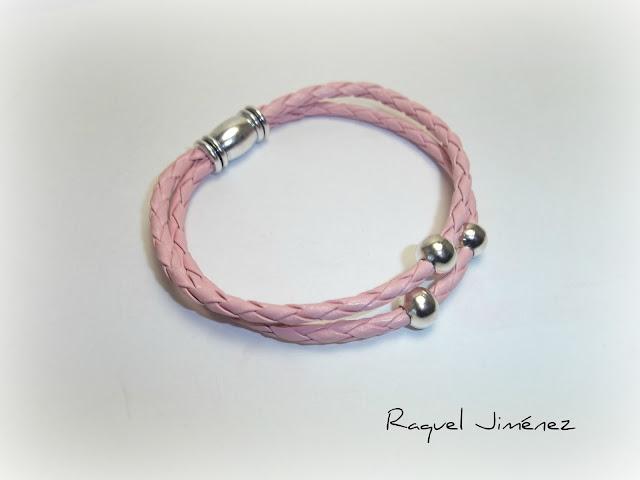 pulsera cuero rosa imán