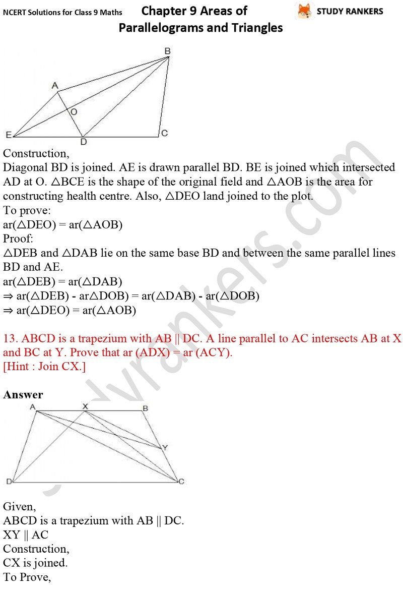 NCERT Solutions for Class 9 Maths Chapter 9 Areas of Parallelograms and Triangles Part 16